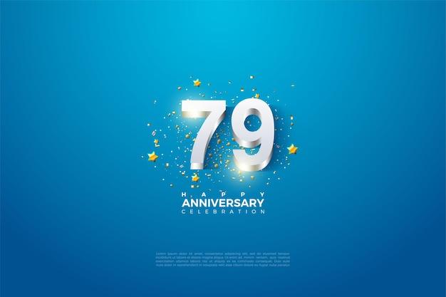 79e anniversaire avec revêtement en chiffres argentés
