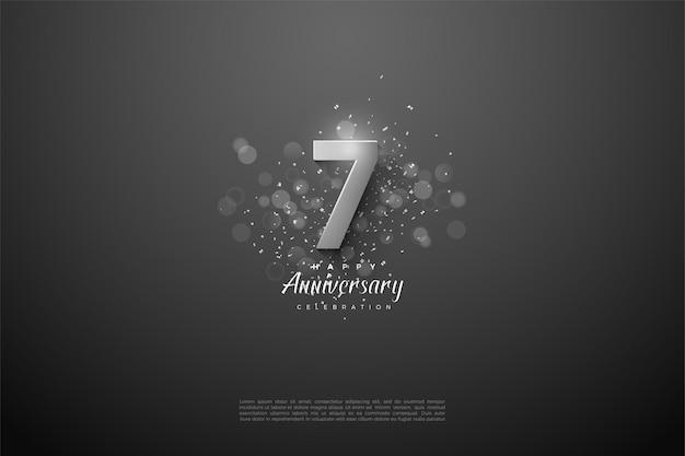 7e anniversaire avec des chiffres argentés lumineux.