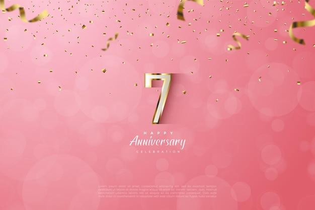 7e anniversaire avec des chiffres luxueux en or.