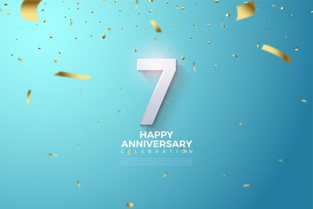 7e anniversaire avec illustration de chiffres 3d sur fond bleu ciel.