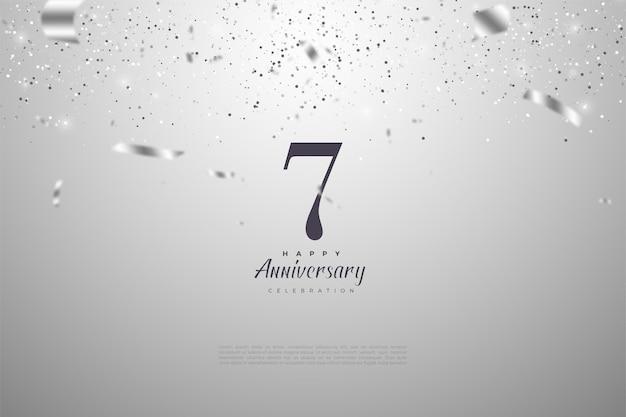 7e anniversaire avec illustration de ruban argent tombant sur les chiffres.