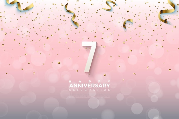 7e anniversaire avec des nombres et des rubans dorés sur un fond d'effet de bruit.
