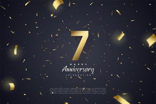 7e anniversaire avec numéros d'or et fond noir avec motif de feuille d'or dispersé