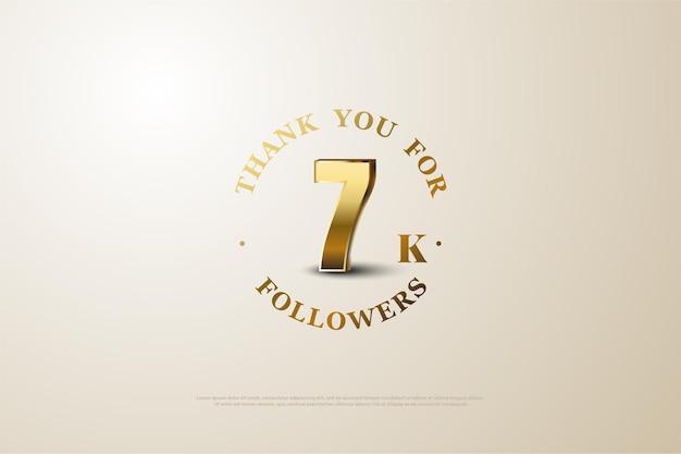 7k followers avec des chiffres dorés brillants