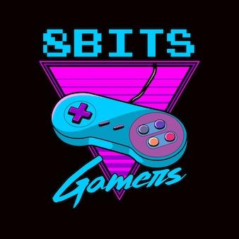 8 bits gamers graphique rétro des années 80