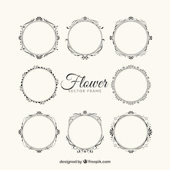 8 cadres floraux ornés