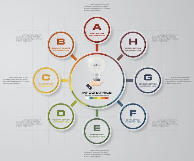 8 éléments infographiques pour la présentation des données.