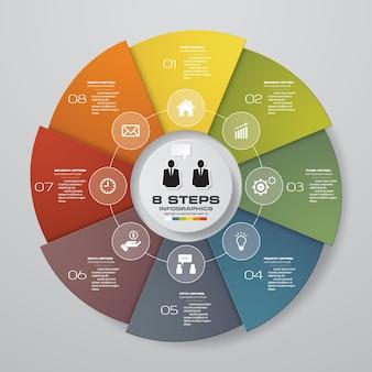 8 étapes de cycle éléments infographiques de graphique.