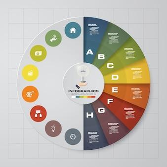 8 étapes éléments cercle infographie graphique.