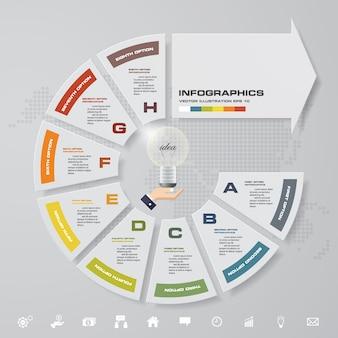 8 étapes en flèche des éléments infographiques pour la présentation des données.