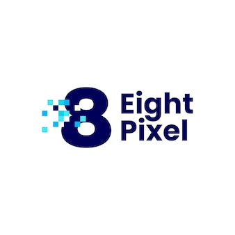 8 huit nombre pixel marque numérique 8 bits logo vector illustration icône