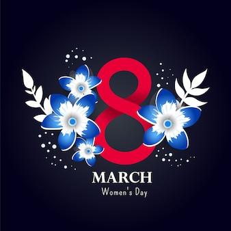 8 illustration 3d de numéro avec des fleurs sur fond blanc.