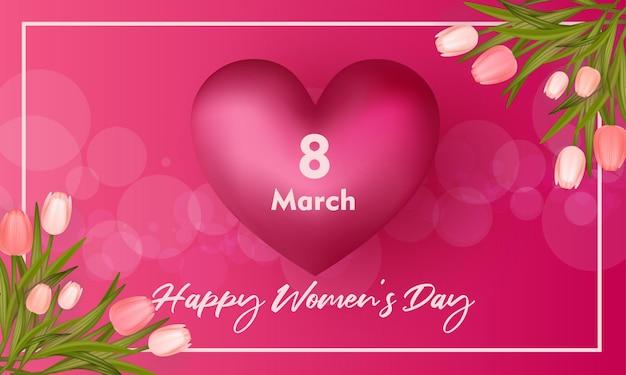 8 Mars Bannière De La Fête De La Femme Heureuse Vecteur Premium