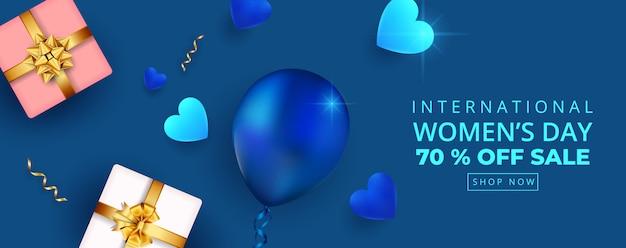 8 mars. bannière de vente de la journée internationale de la femme heureuse