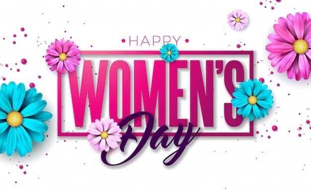 8 mars. carte de voeux floral happy womens day.