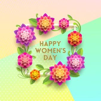 8 Mars - Carte De Voeux De La Journée Internationale De La Femme. Cadre Avec Des Fleurs. Vecteur Premium