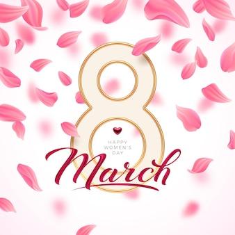8 mars - carte de voeux de la journée internationale de la femme. nombre d'or huit