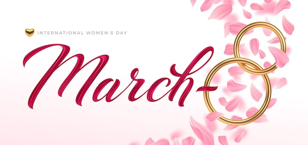 8 Mars - Carte De Voeux De La Journée Internationale De La Femme. Nombre D'or Huit Vecteur Premium