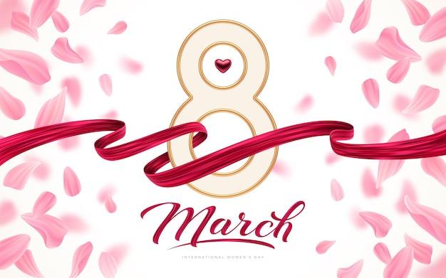 8 mars - carte de voeux de la journée internationale de la femme - numéro huit d'or, coeur rouge et ruban de peinture