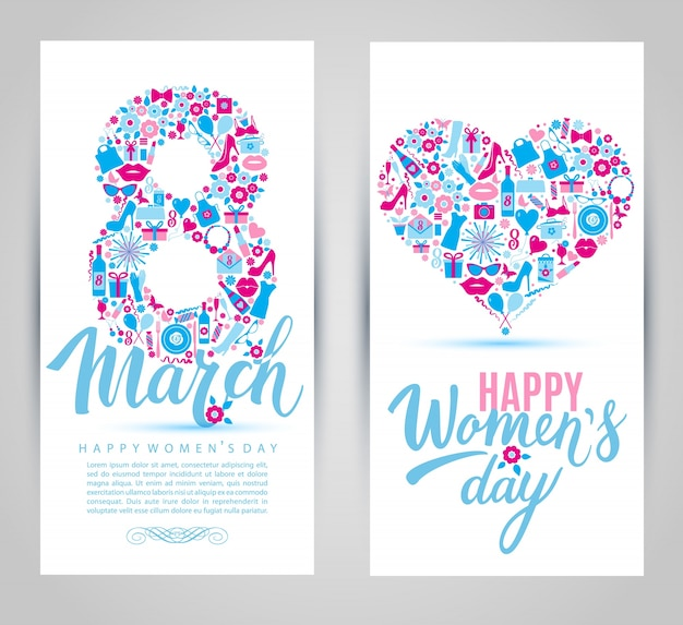 8 mars cartes d'icônes.