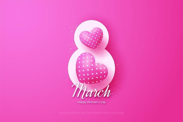 8 mars avec des chiffres blancs et deux ballons d'amour 3d.