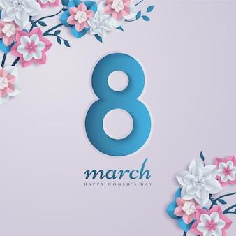 8 mars de figurines en papier découpé avec des fleurs.
