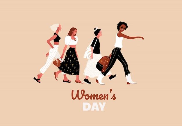 8 mars. filles ou femmes heureuses et sexy marchant ensemble