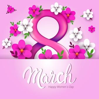 8 mars fond de la journée de la femme avec des fleurs