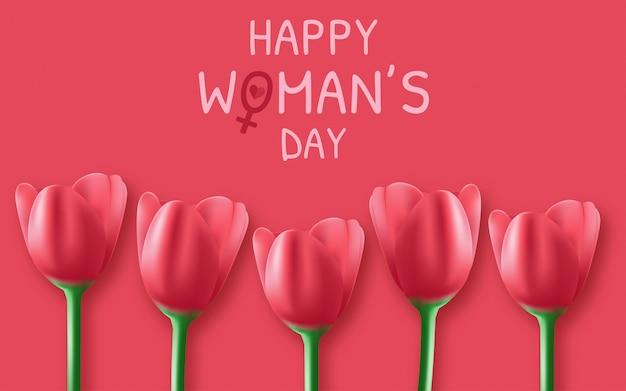 8 mars fond de la journée internationale des femmes avec des fleurs.