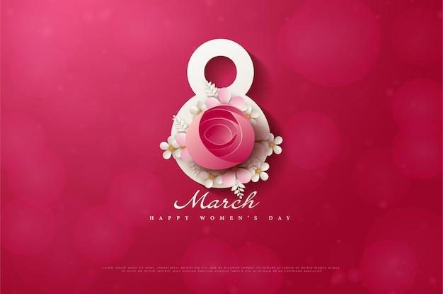 8 mars fond avec des roses rouges non épilées.