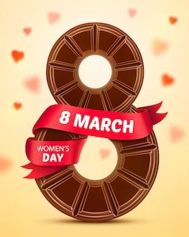 8 mars, journée de la femme. carte de voeux avec chocolat et ruban rouge