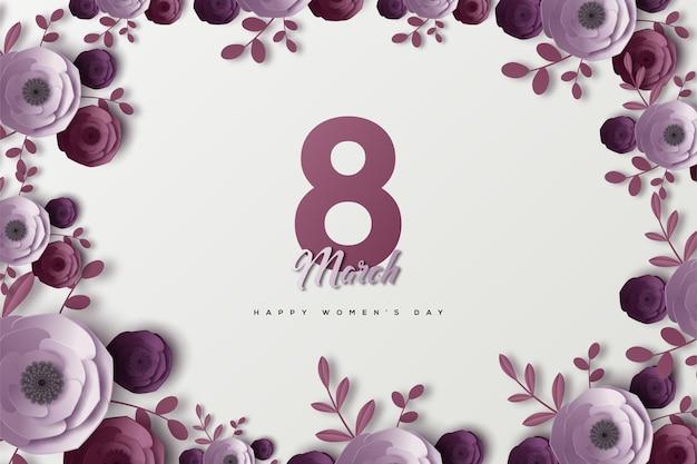 8 mars journée de la femme avec des chiffres violets et des fleurs comme cadre