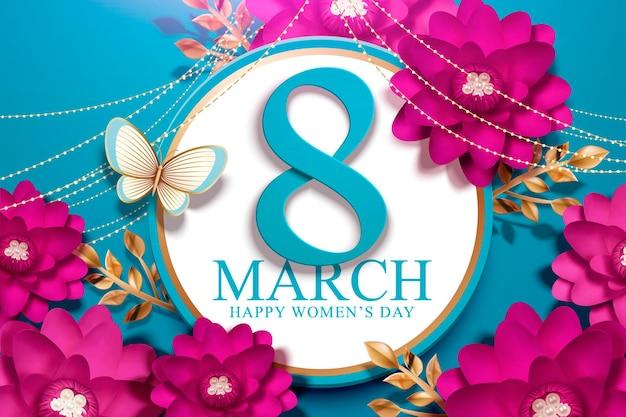 8 mars journée de la femme avec des fleurs de couleur fuchsia en papier kraft