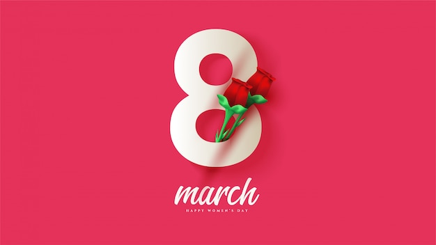 8 mars journée de la femme avec illustrations de chiffres blancs avec roses rouges