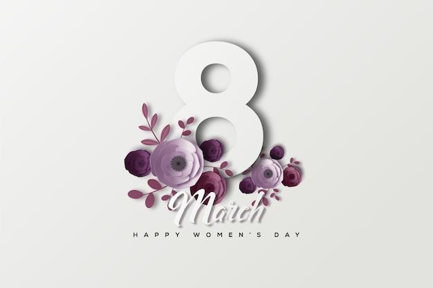 8 mars journée de la femme avec des personnages décorés de fleurs