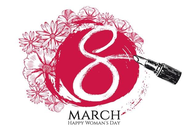 8 mars journée de la femme style dessiné à la main