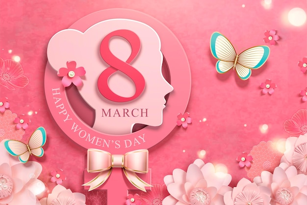 8 mars journée de la femme avec tête de femme et jardin de fleurs roses