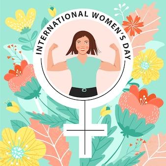 8 mars, journée internationale de la femme, carte de voeux fille au pouvoir.