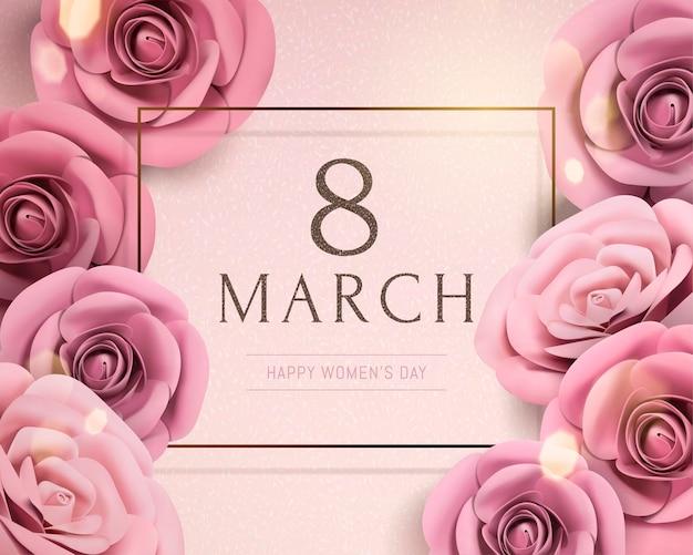8 mars modèle de journée de la femme heureuse avec des roses en papier sur effet bokeh