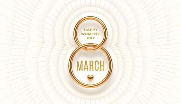 8 mars - salutation de la journée internationale de la femme. numéro d'or réaliste huit et voeux d'or scintillant