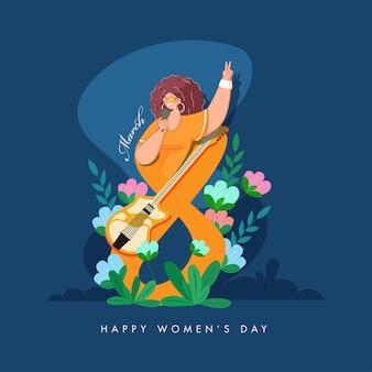8 mars texte décoré de fleurs, guitare et jeune femme chantant sur fond bleu