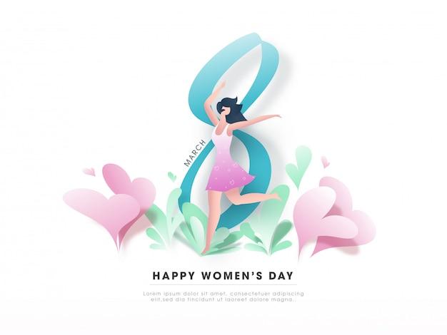 8 mars, texte de la journée de la femme heureuse avec dessin animé moderne jeune fille dansant et coeurs de papier sur la carte de voeux blanche