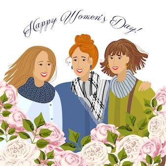 8 mars. trois femmes avec des roses de jardin. modèles pour carte, affiche, flyer