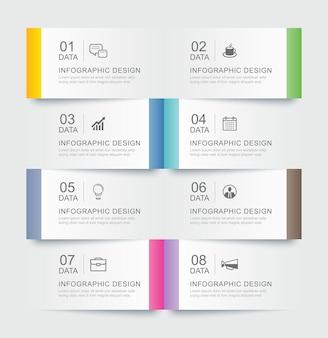 8 modèles d'index de papier à onglet infographie de données. abstrait illustration vectorielle.
