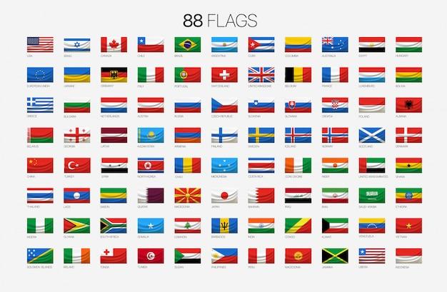 88 drapeaux nationaux avec des noms