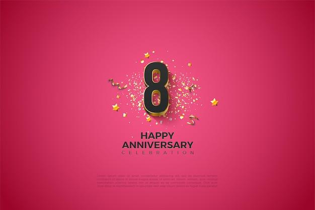 8e anniversaire avec une belle illustration de chiffres 3d plaqués or.