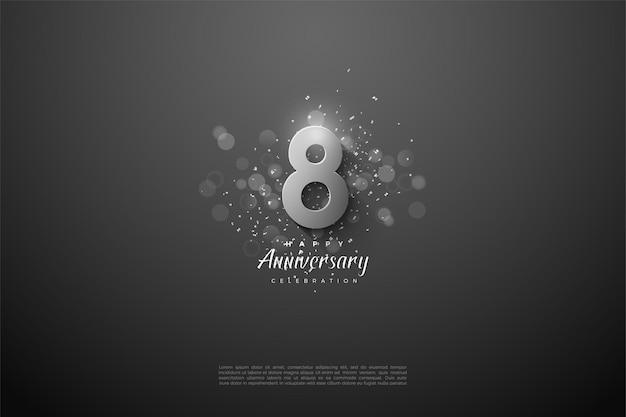 8e anniversaire avec des chiffres en argent 3d.