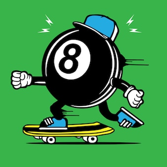 8th ball skater skateboard personnage