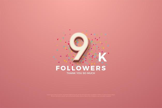 9 000 abonnés avec des chiffres et des gribouillis colorés