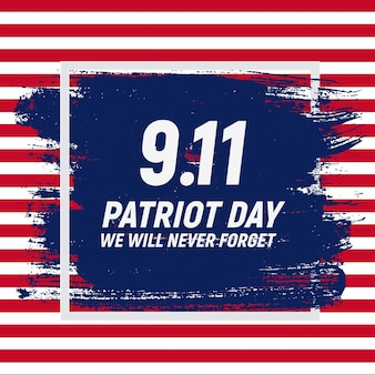 9.11 contexte patriot day nous n'oublierons jamais le modèle d'affiche vector illustration
